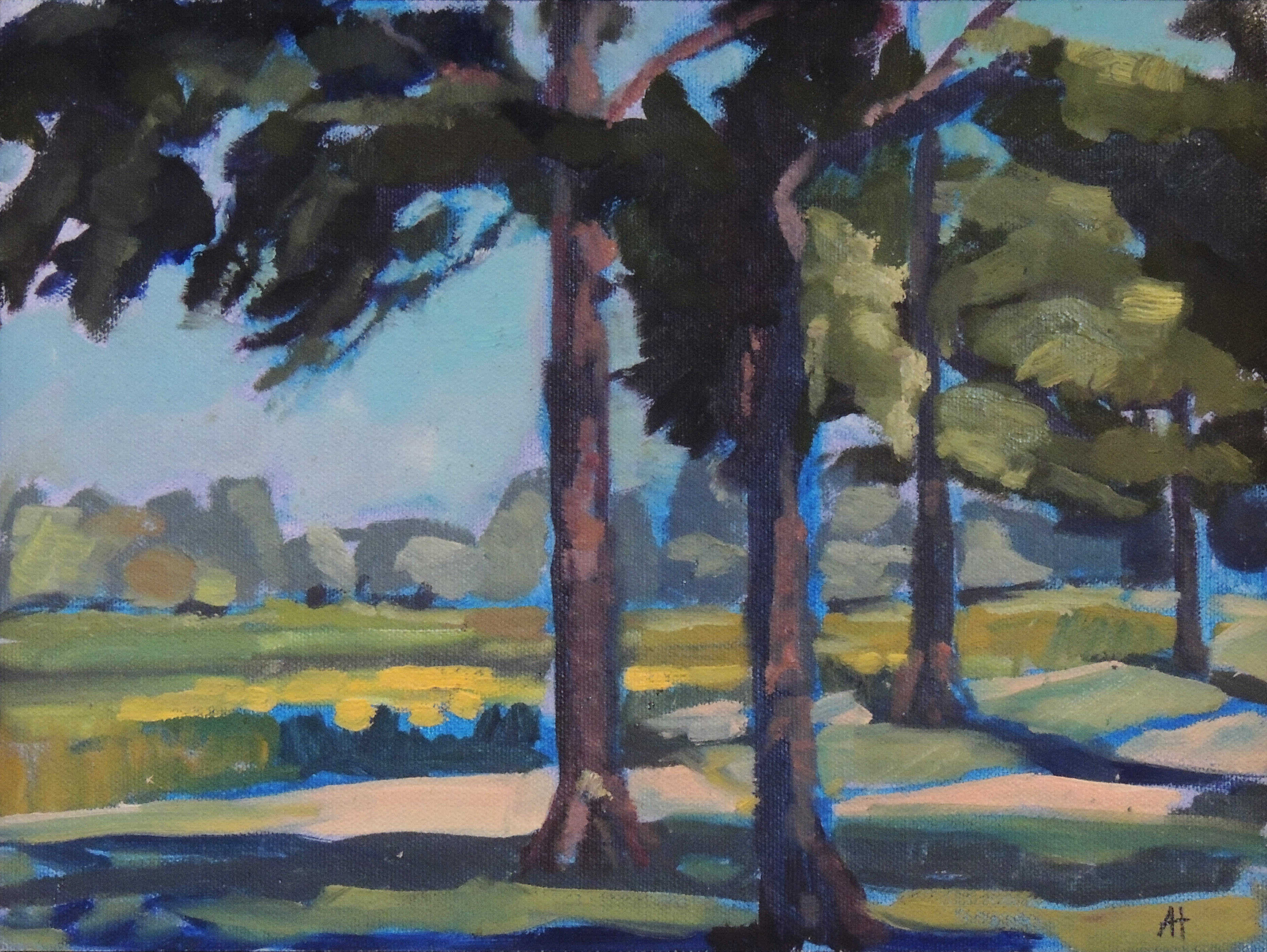 Audrey Hackman | STATELY TREES | oil | frame size 12x15