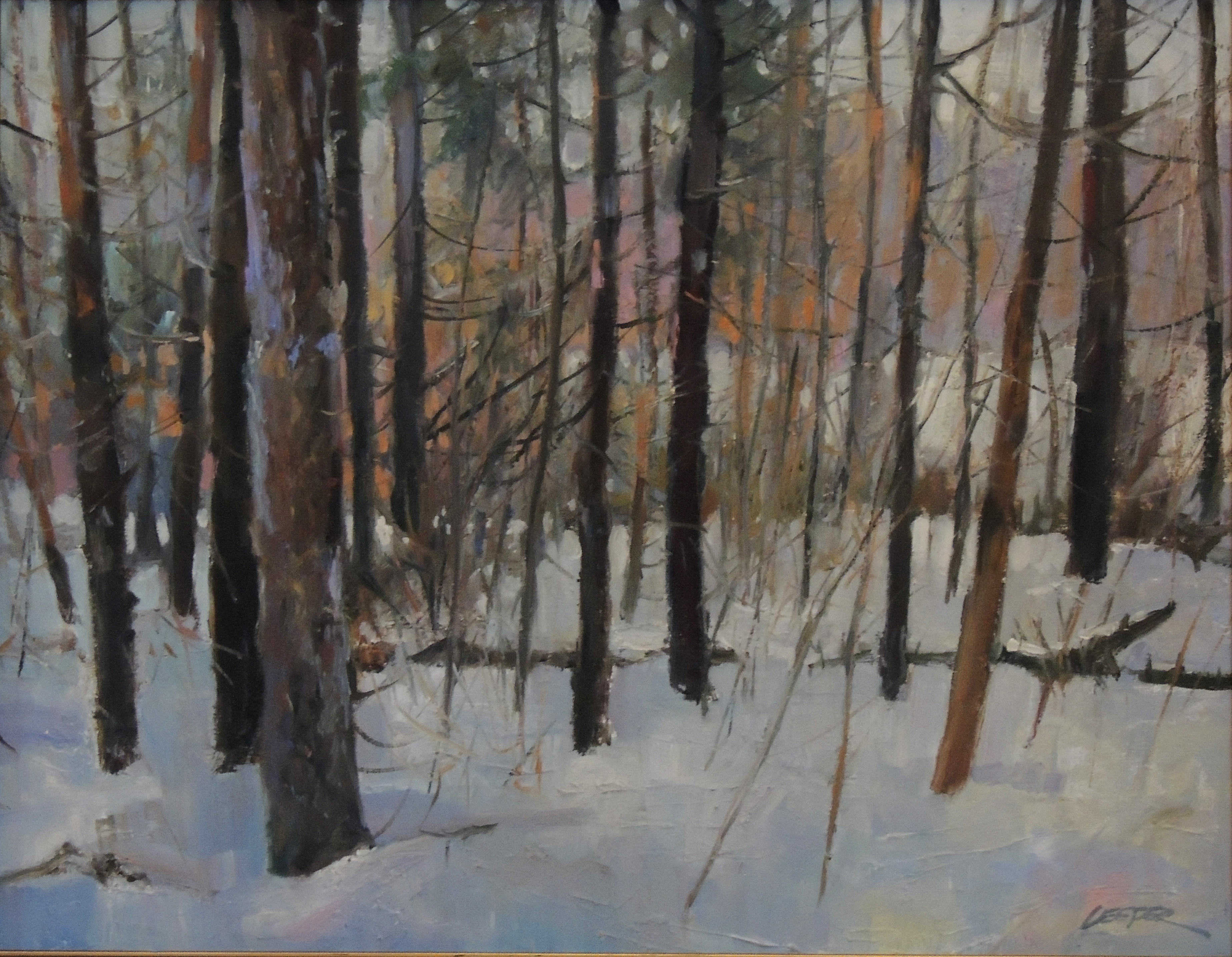 Christopher Leeper | SNOWY WOODS | oil | frame size 22x26
