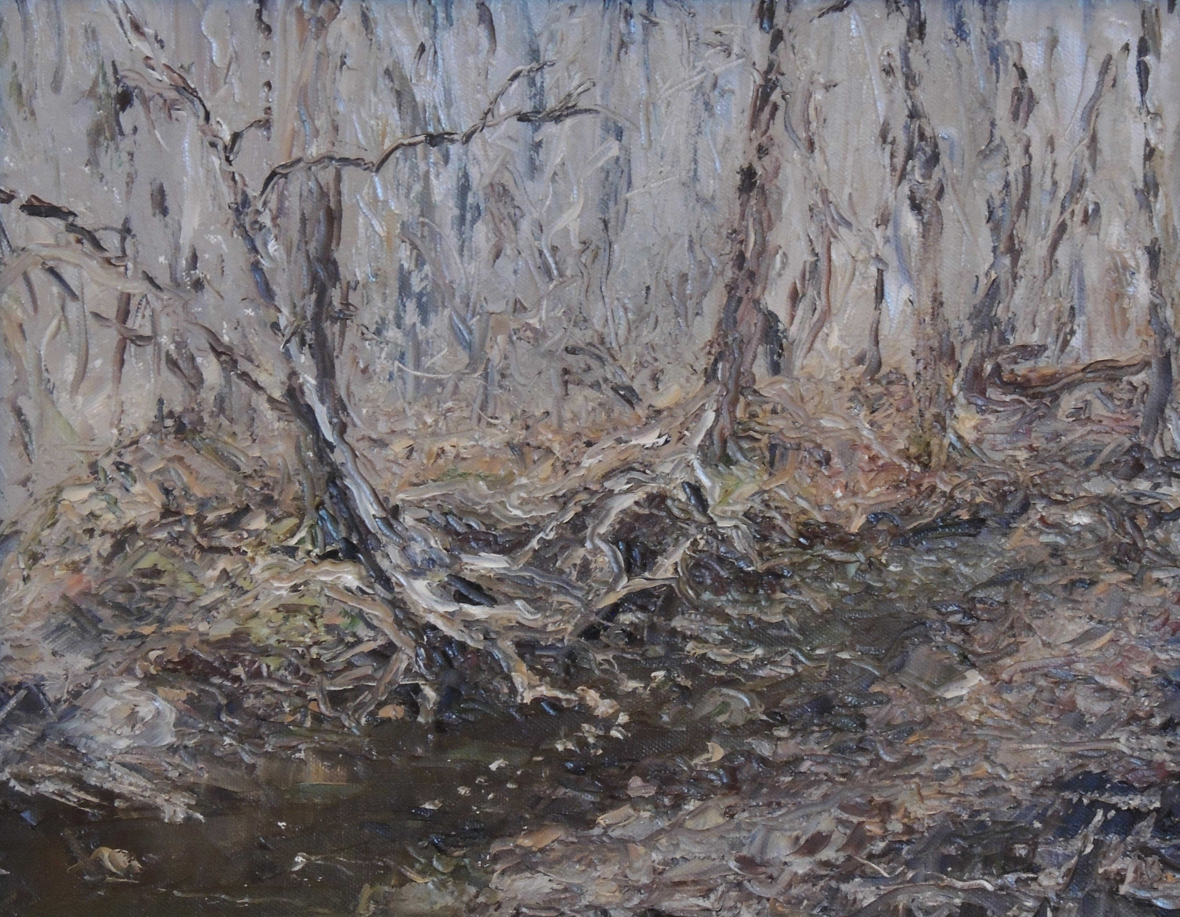J.T. Durkalski | STREAM ROOTS AT HIGHBANKS | oil | frame size 15x18