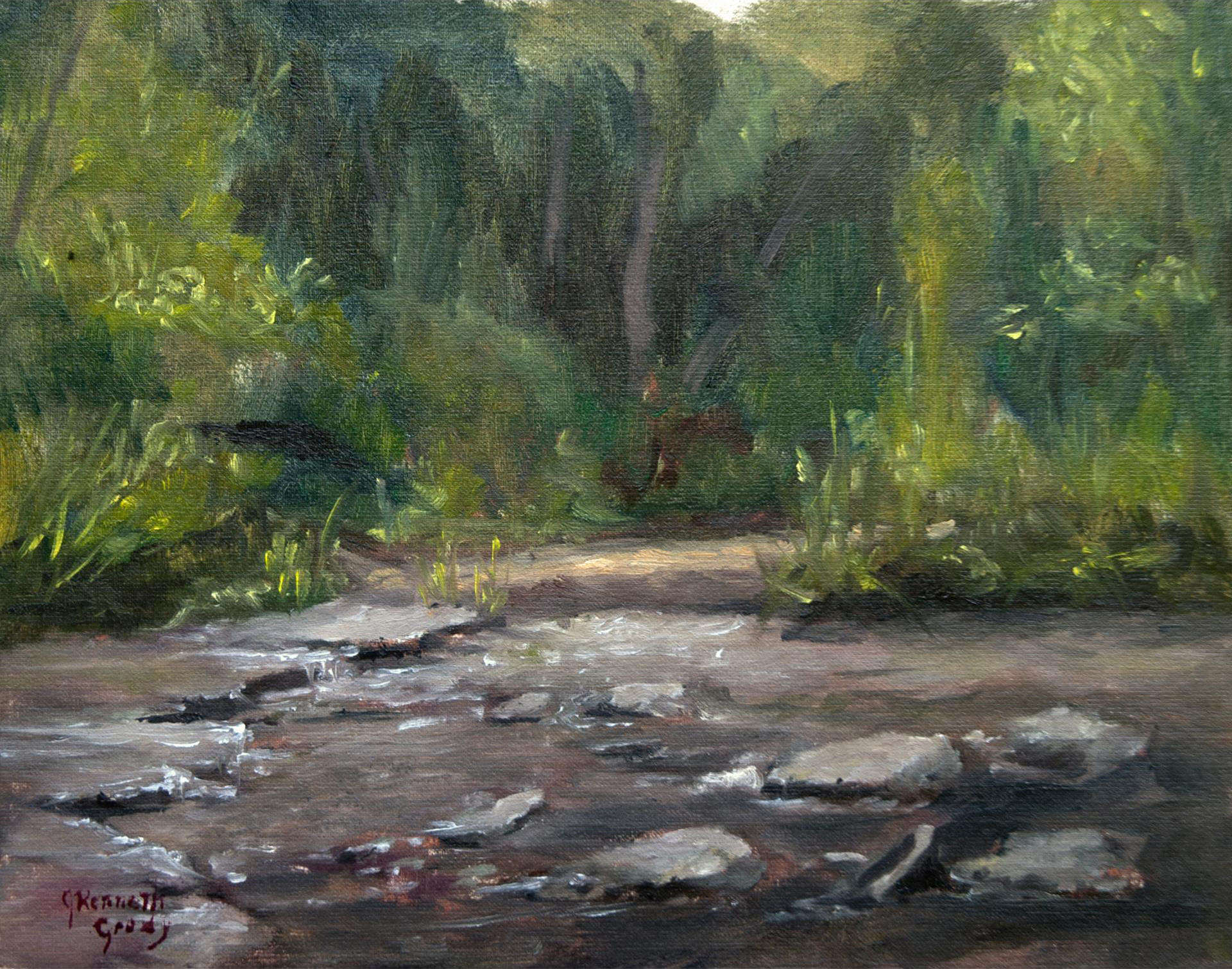 James Grody | SUGAR CREEK AT BILL YECK PARK |  oil on canvas panel | frame size 11x13