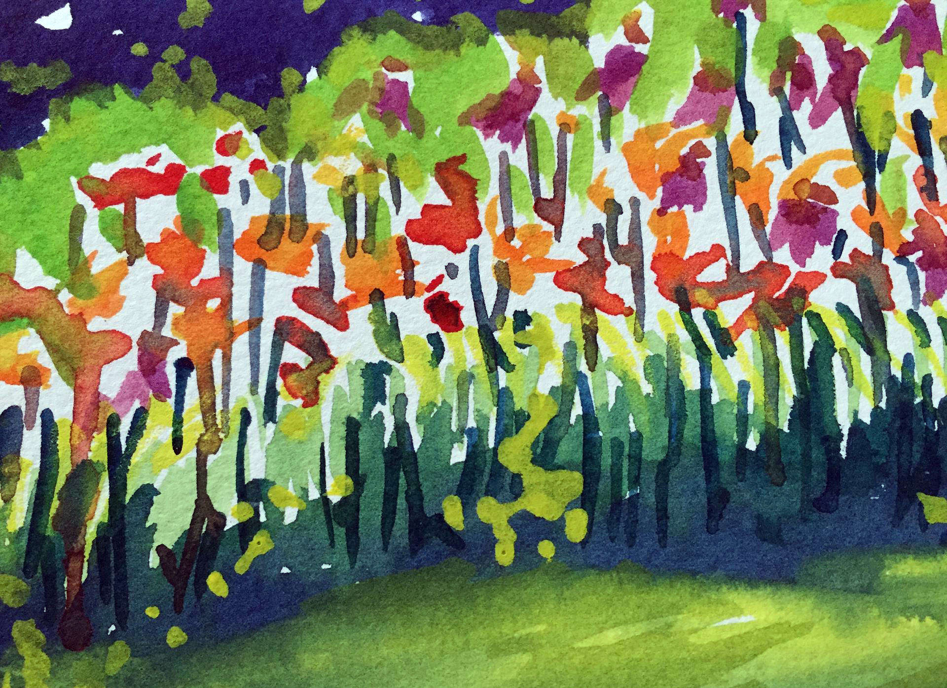 Jane M. Mason | LAUGHING LILIES- CARILLON PARK- DAYTON, OH | watercolor | frame size 10x8