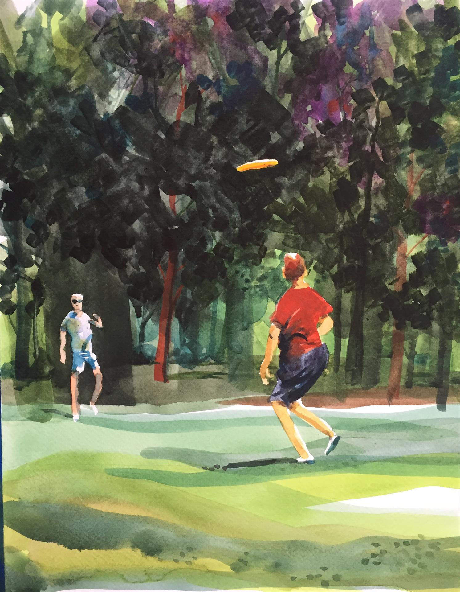 Jeff Stahler | FRISBEE IN THE PARK | watercolor | gallery wrapped