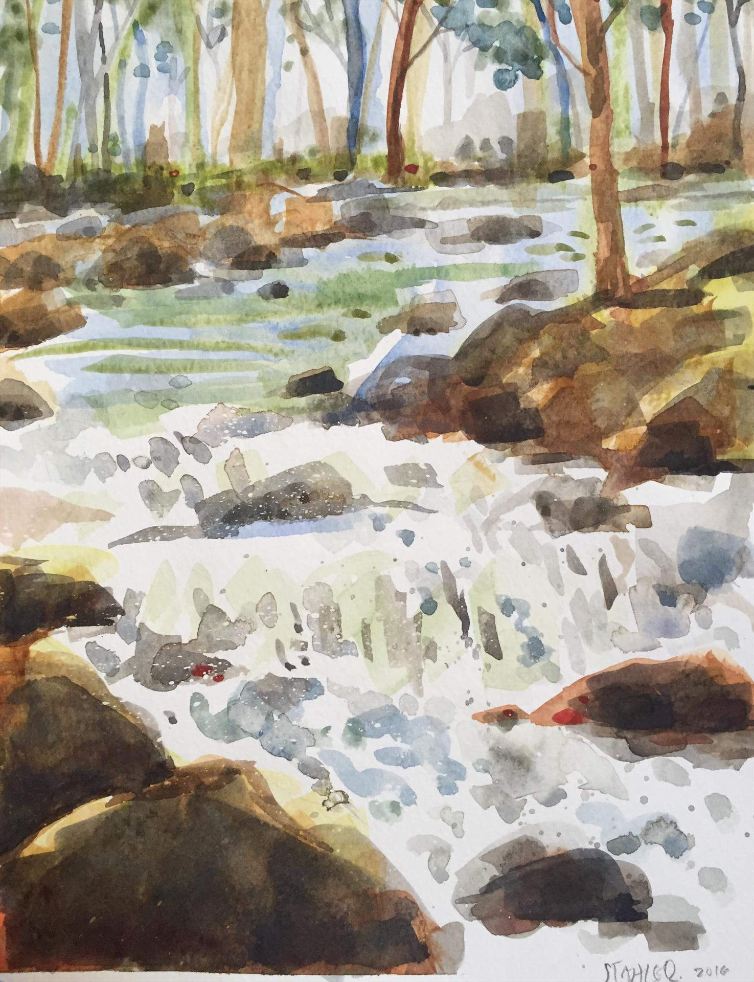 Jeff Stahler | INDIAN RUN FALLS PARK | watercolor | gallery wrapped