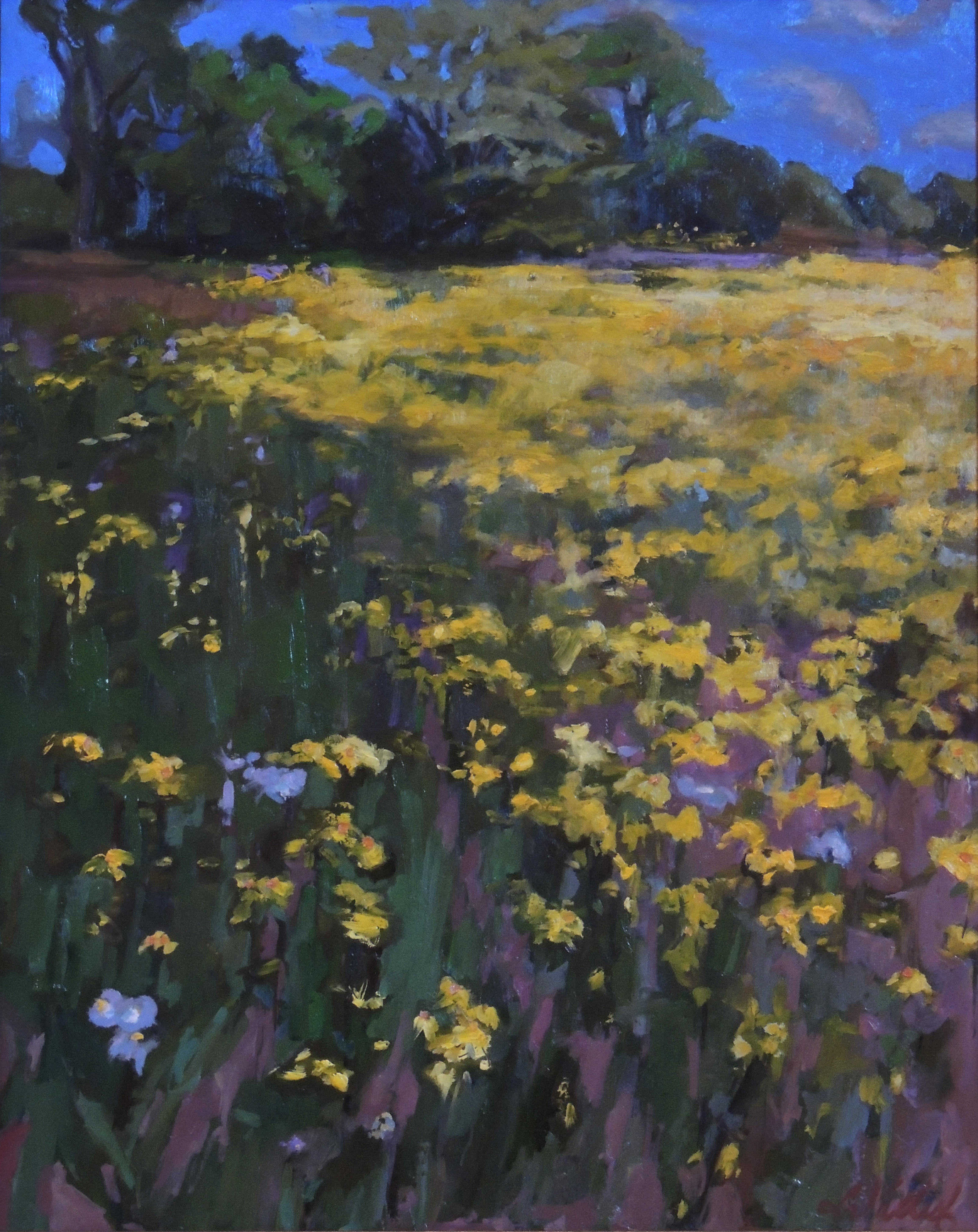 Second Place | Karen LaValley | GOLDEN FIELD ROCKY FORK PARK | oil | frame size 37x31