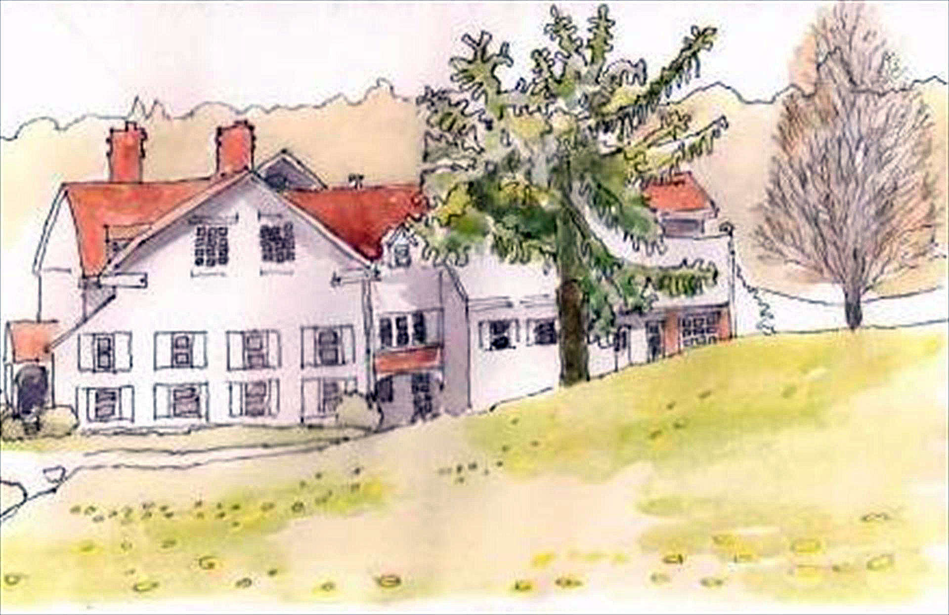 Laura Dressler | MANOR HOUSE AT QUAIL HOLLOW |  watercolor and ink