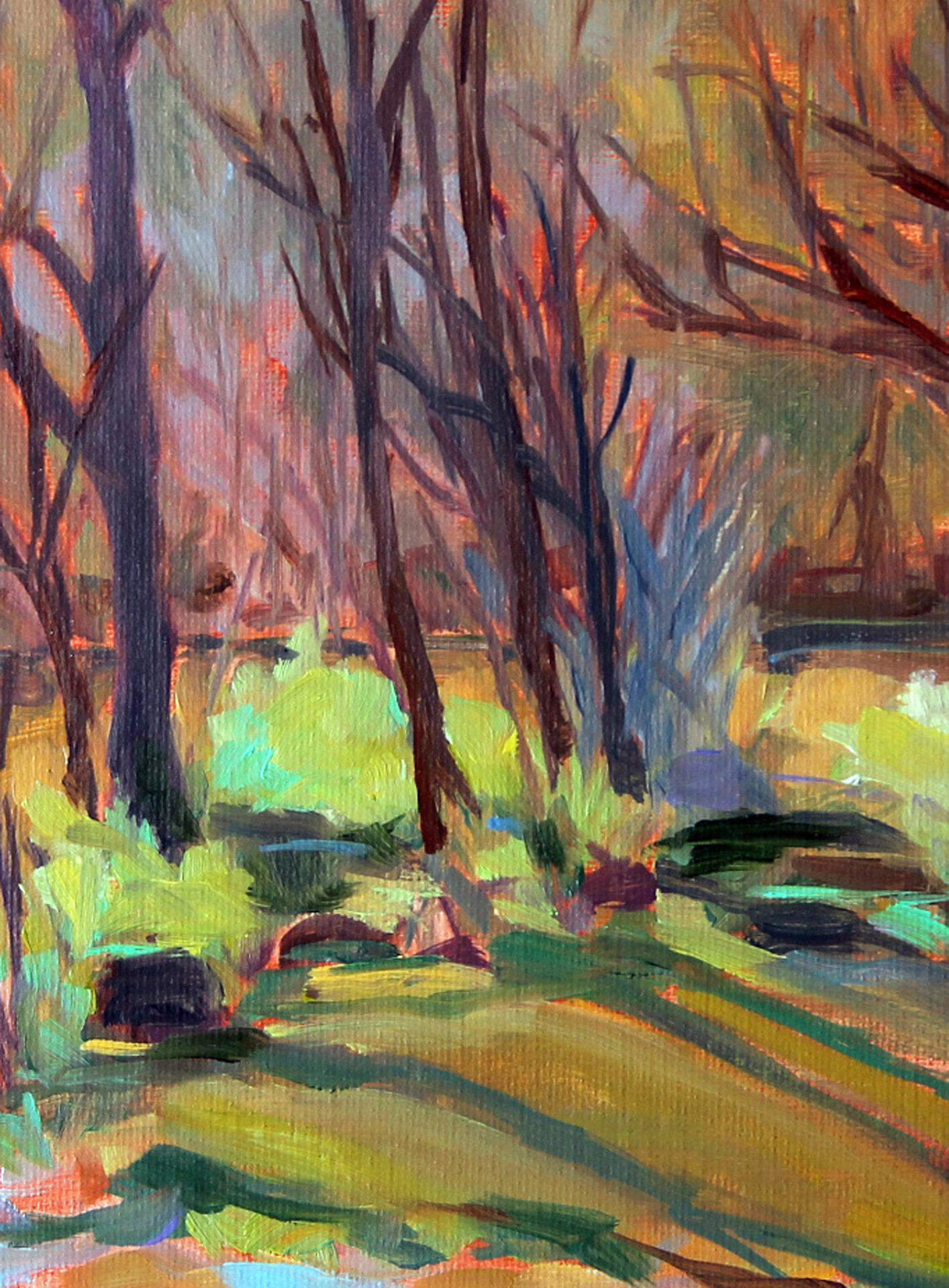Lynda Guenther | SCIOTO PARK ON THE RIVER | oil | frame size 11x13
