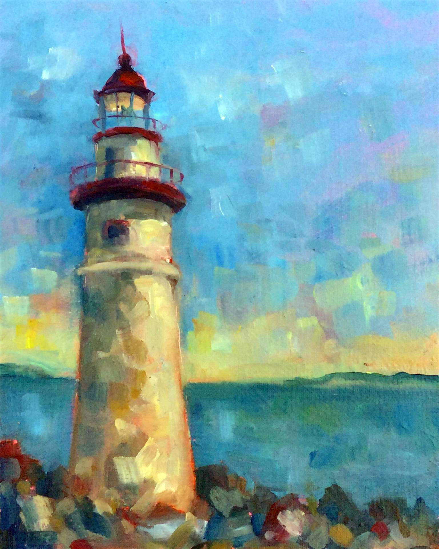 Mary Ann Clady | MARBLEHEAD LIGHTHOUSE | oil | frame size 14x16