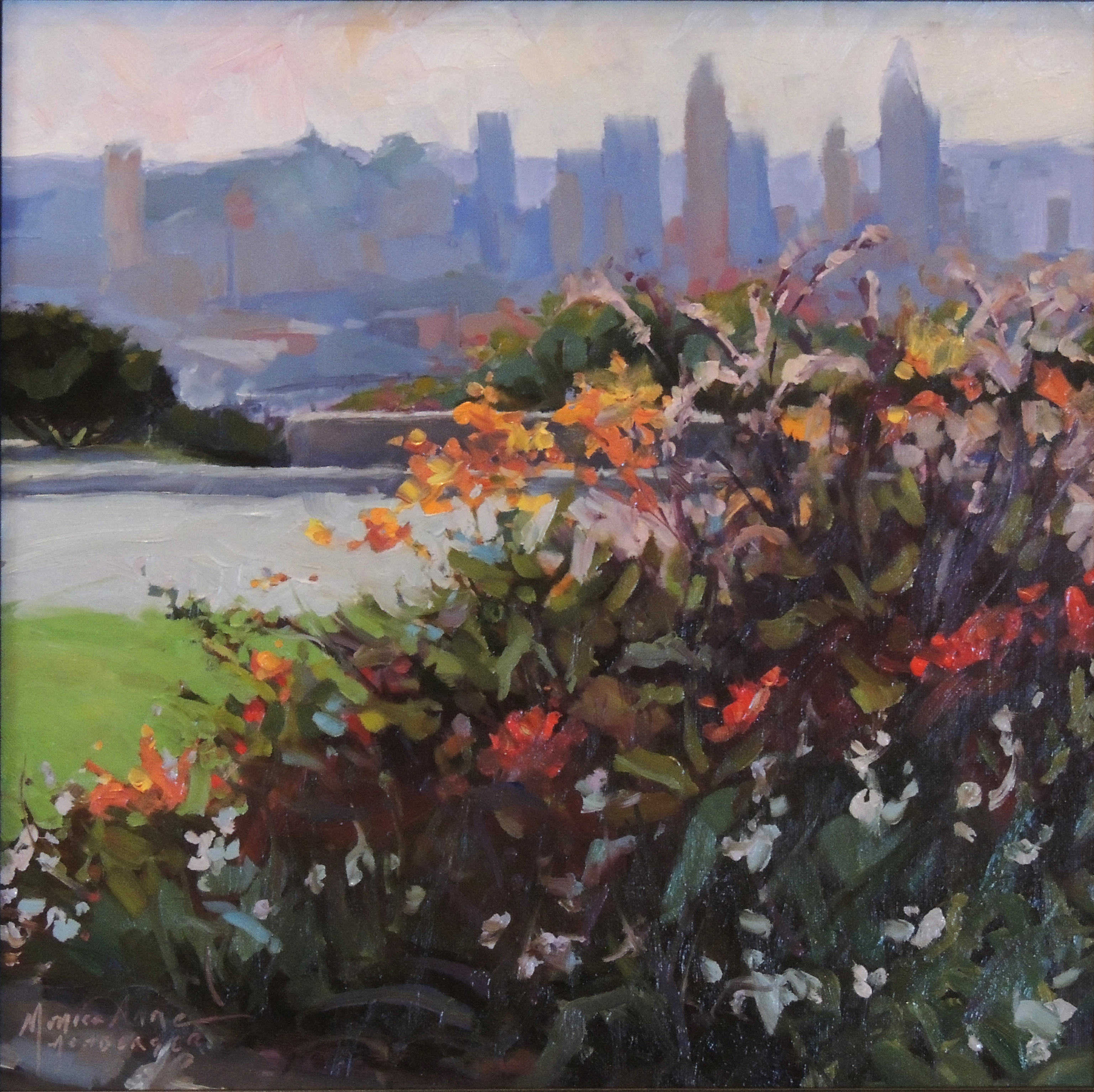 Monica Anne Achberger | FLOWER CITY, MT. ECHO PARK | oil on linen | frame size 16x16