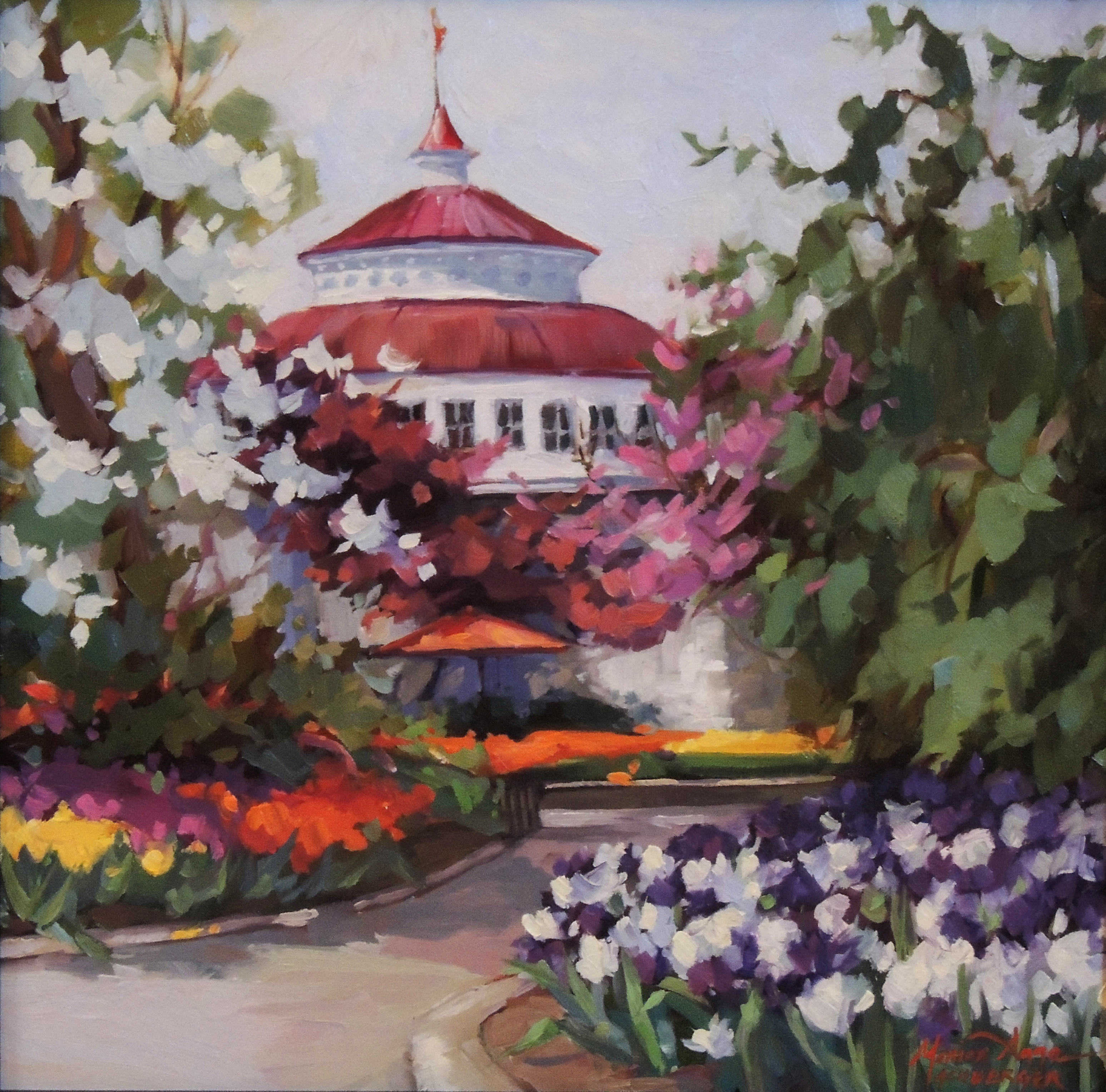 Honorable Mention | Monica Anne Achberger | ZOO BLOOMS | oil | frame size 16x16