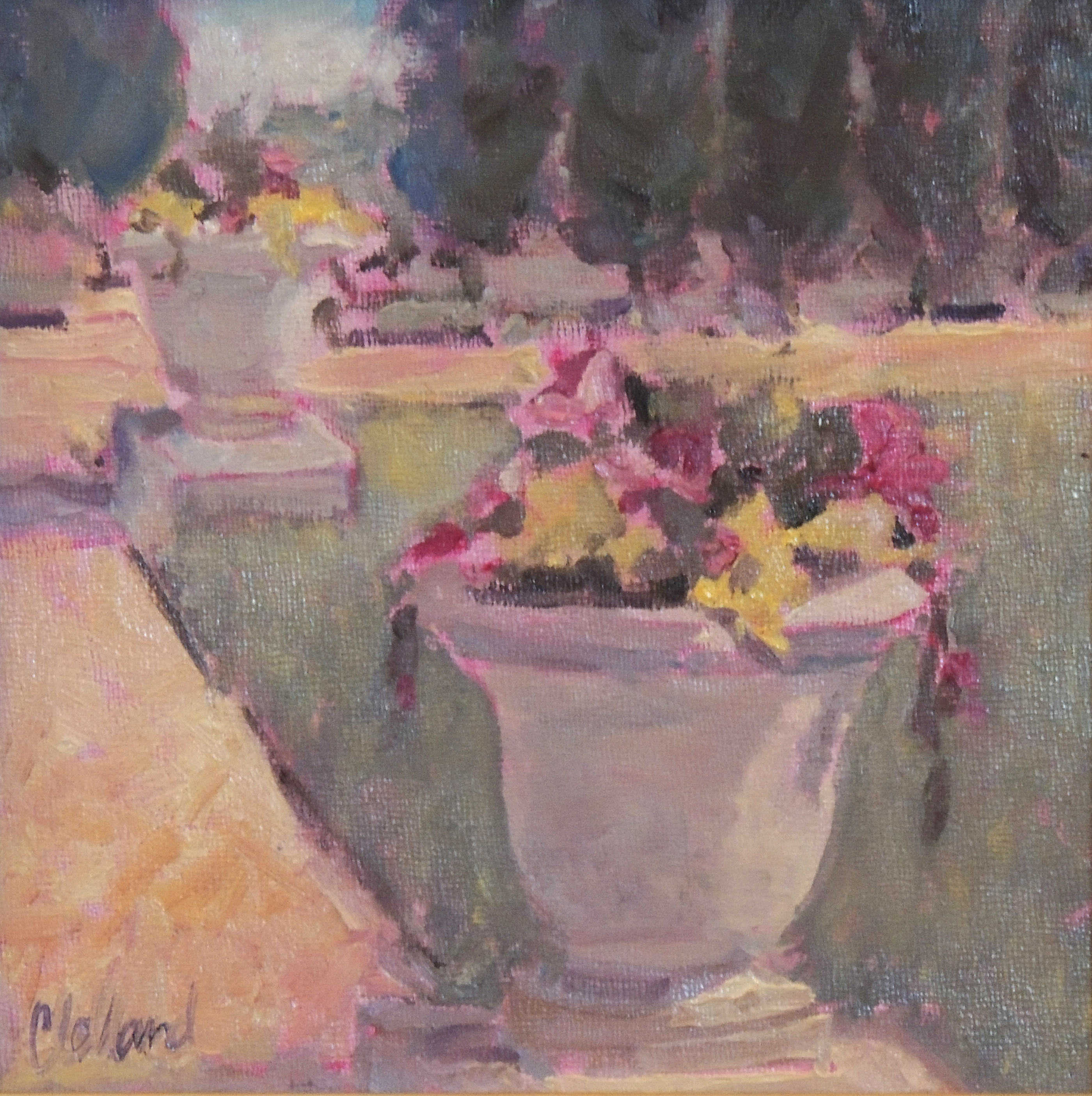 Nancy Clelland | FRANKLIN PARK FLOWER POTS | oil | frame size 9x9