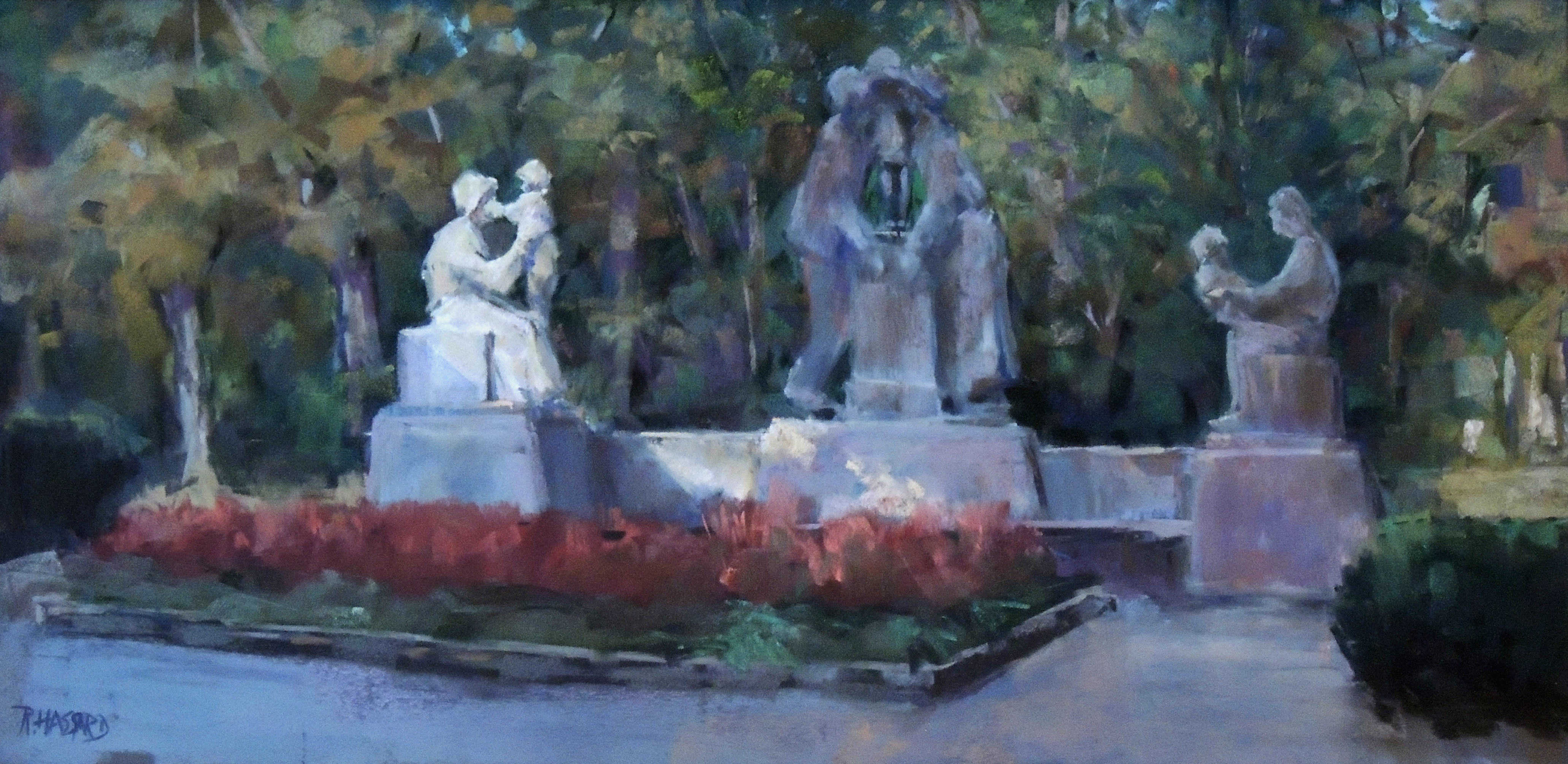 Ray Hassard | FAMILY STATUE GROUP, MARIEMONT | soft pastel | frame size 18x30