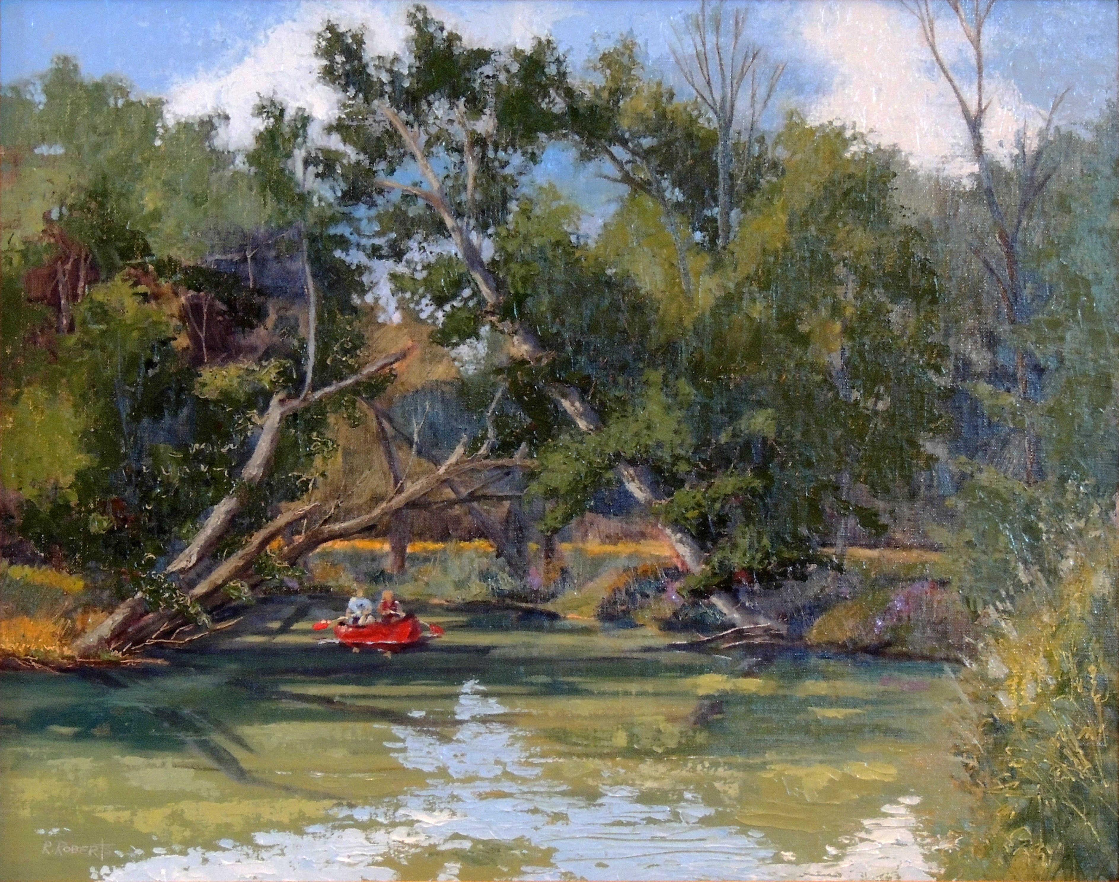 Third Place | Robin Roberts | CANOEING THE MOHICAN RIVER | oil