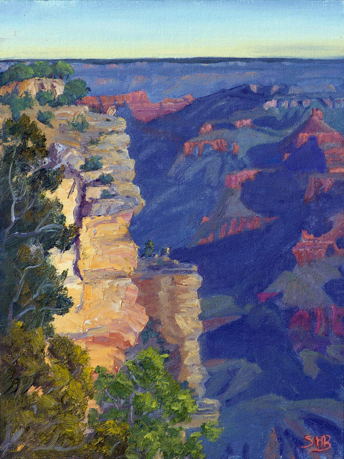 Susi Havens-Bezaire | SUNRISE NEAR MATHER POINT | oil | frame size 12x15