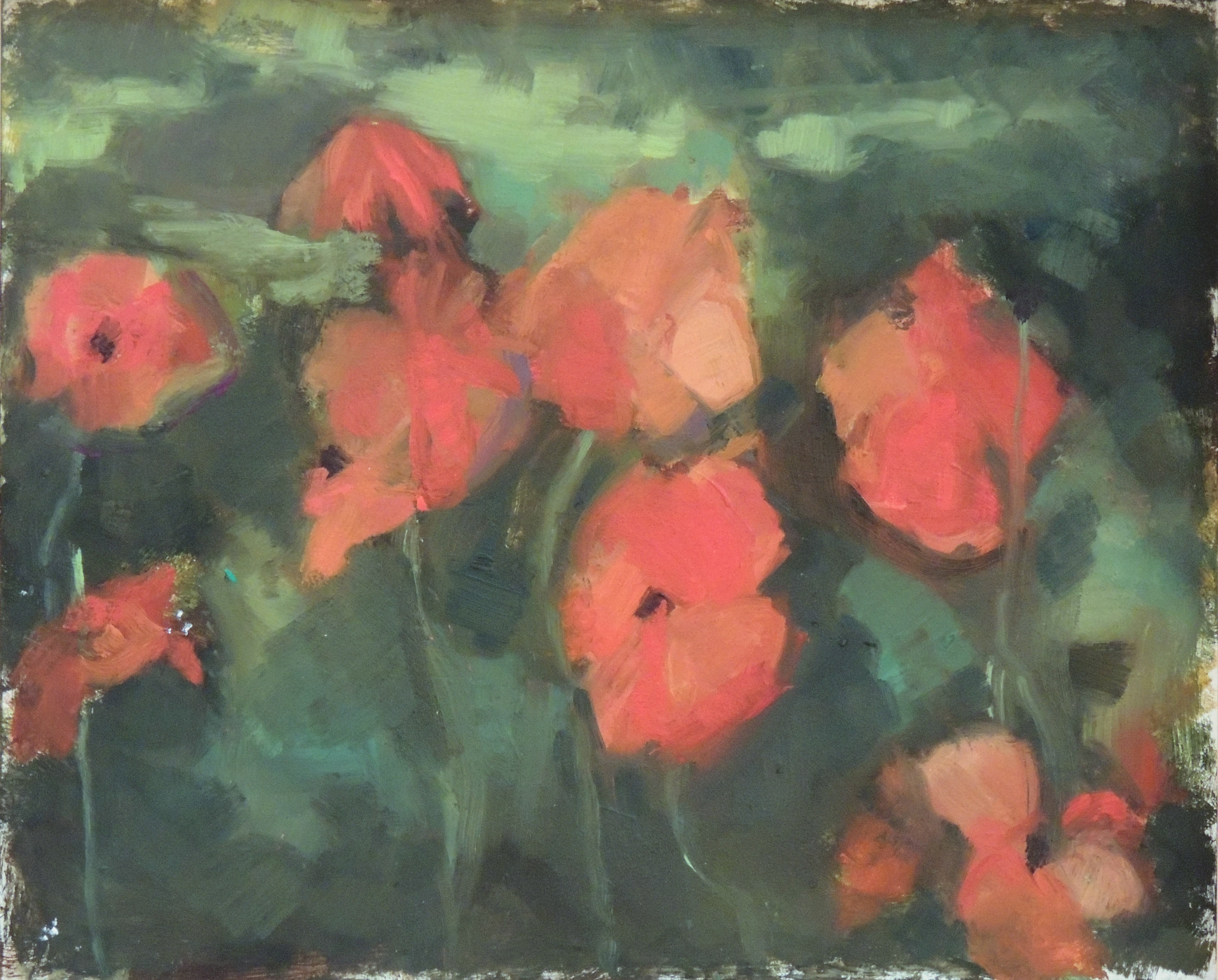 Pat Robinow | FADING POPPIES | Oil on Panel
