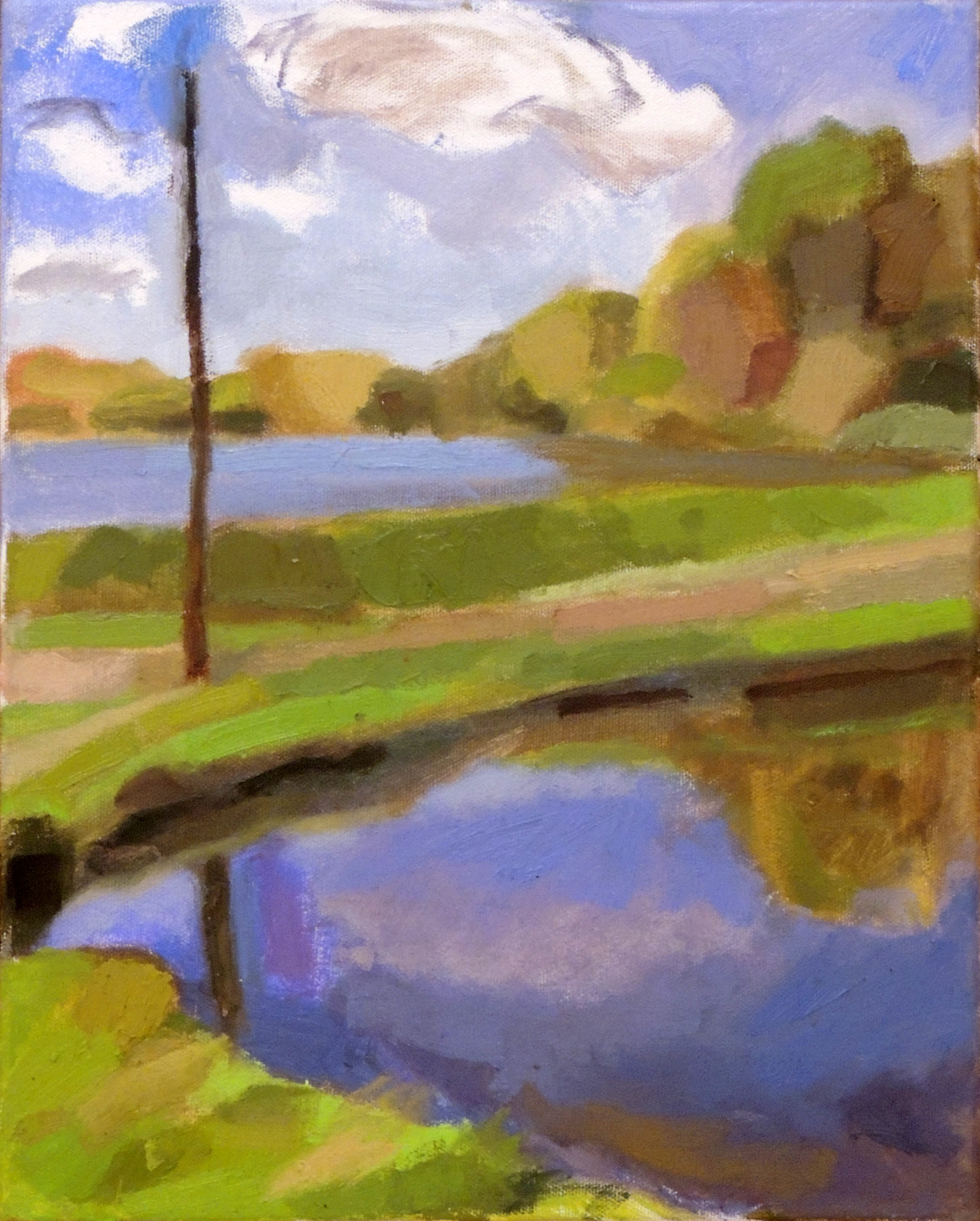 Penny Park | FALL MORNING BY THE LAKE | Oil on canvas