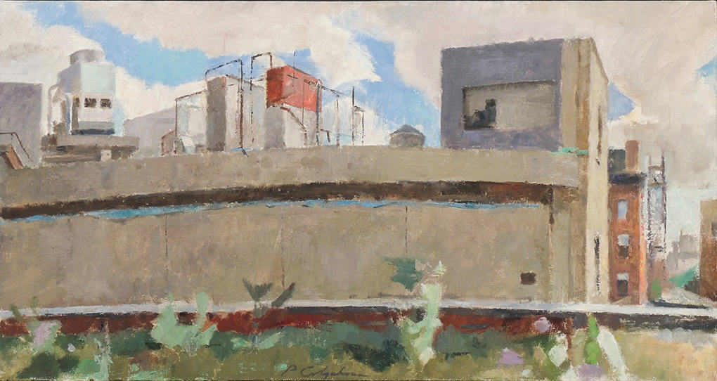 "Peter Colquhoun | REAR OF 860 WASHINGTON STREET | Oil on linen | 16 x 30"" | 2011"