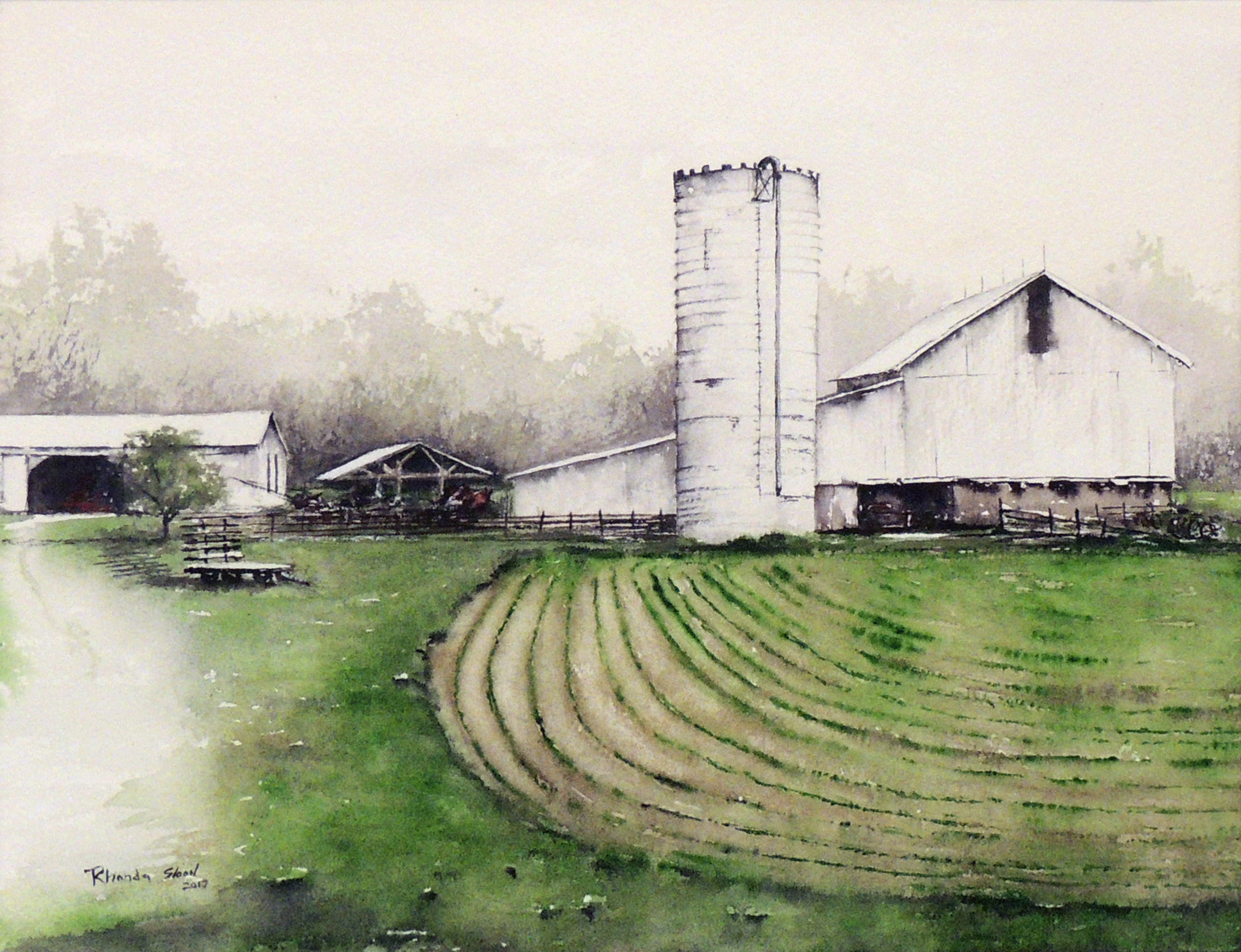 Rhonda Sloan | DAYLIGHT AT LOUDENBECK FARM | Watercolor
