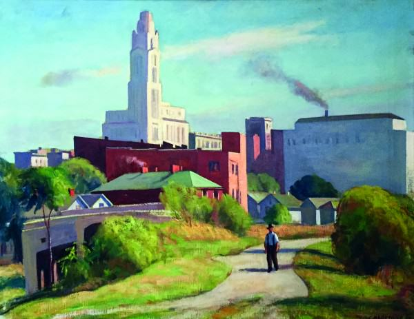 Robert Chadeayne | COLUMBUS FROM THE WEST | 1950 | oil on canvas | 22 x 28"