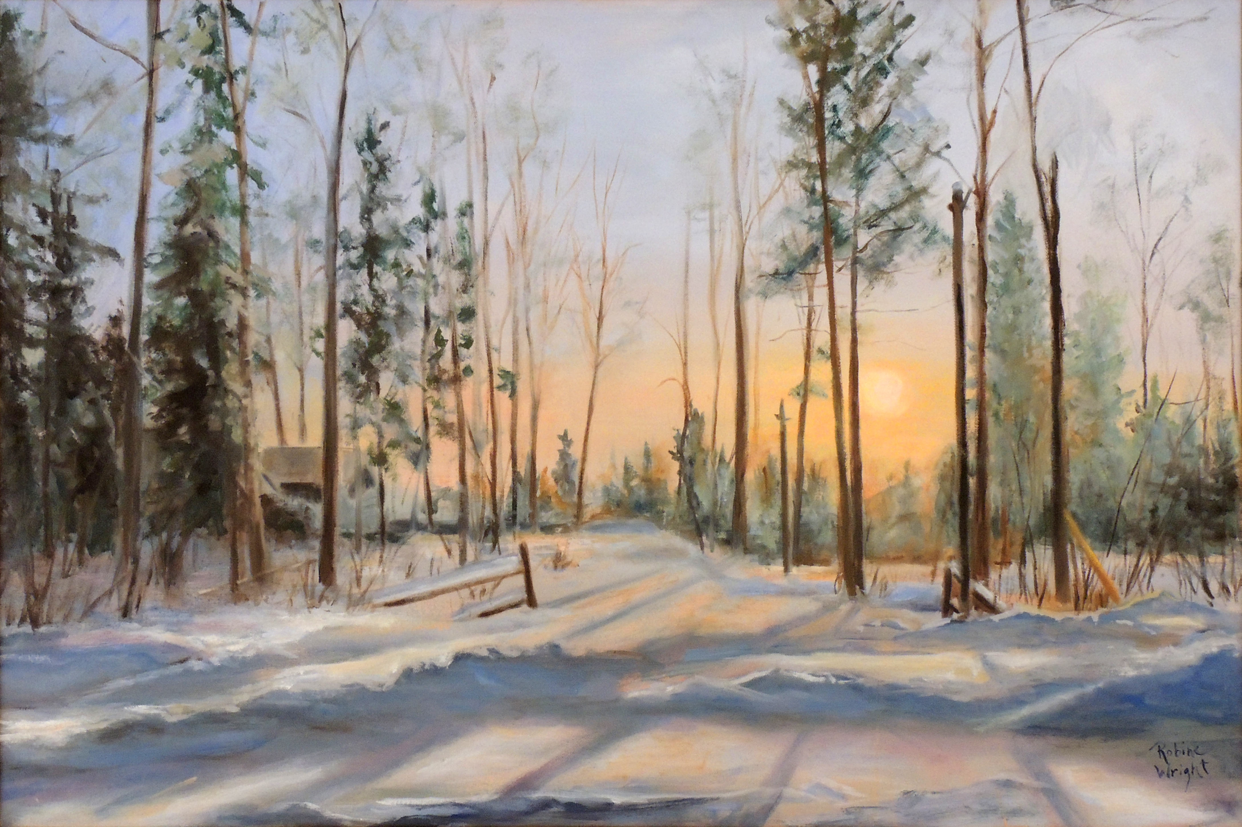 Robine Wright | WINTER MORNING AT THE CABIN | Oil