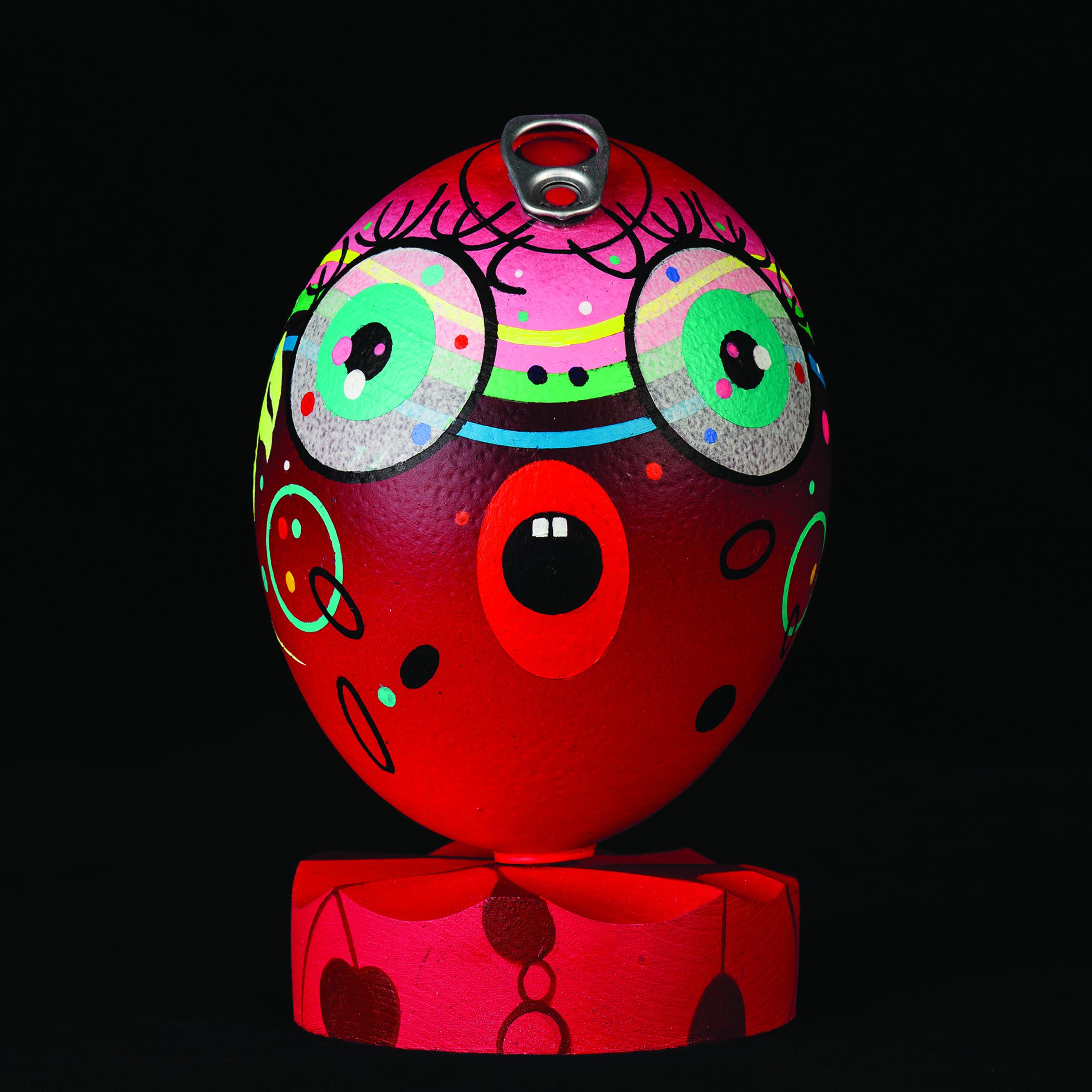Roger J. Williams I PRINCESS IDA POP TOP I acrylic paint, lacquer, wood base, aluminum pop top