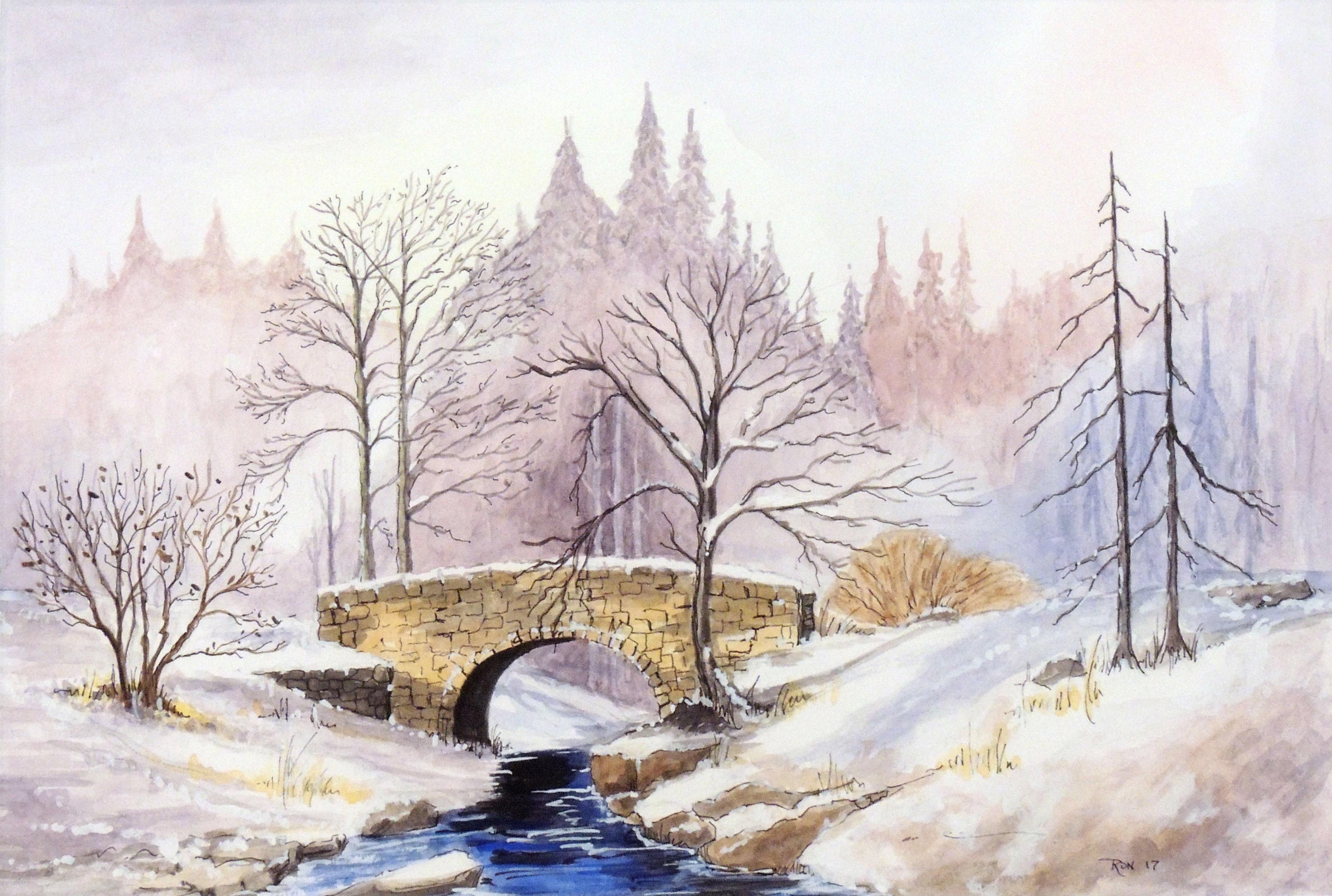 Ronald Deere | STONE BRIDGE IN WINTER | Watercolor & pen