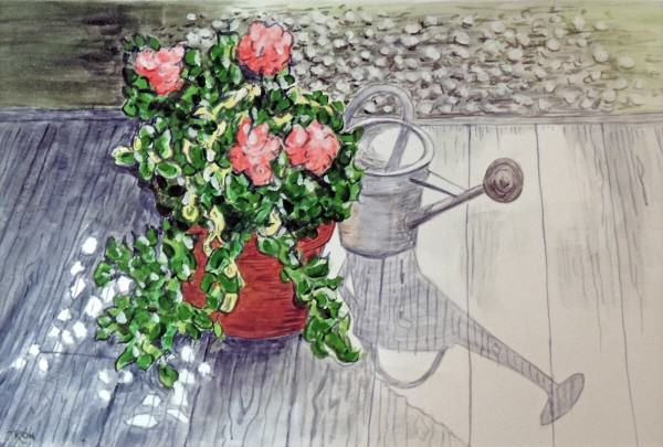 Ronald E. Deere | PLANTER WITH WATERING CAN | watercolor