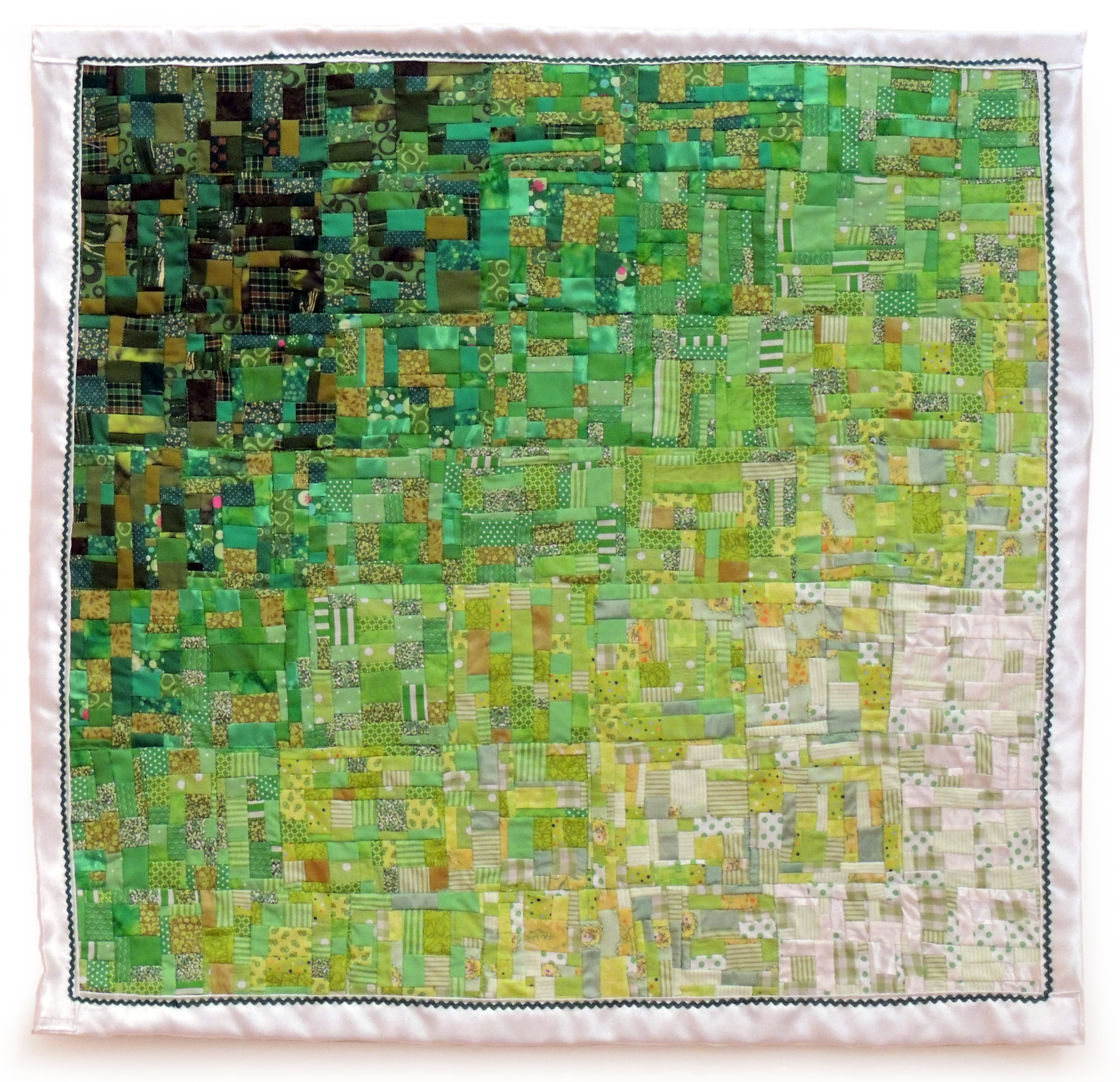 Sharri Paula Phillips | GREEN WATERCOLOR QUILT | fabric | variable dimensions | 2015