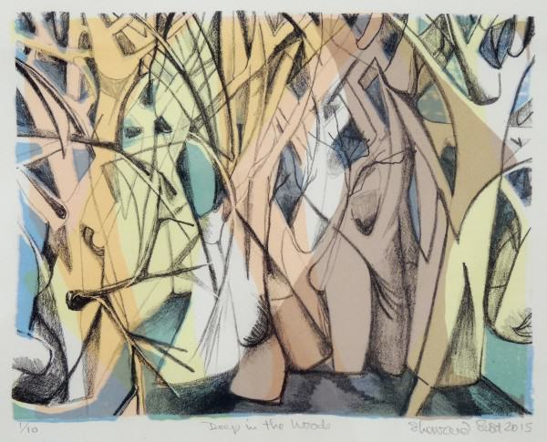 Sherraid Scott | DEEP INTO THE WOODS | stone litho with silk screen