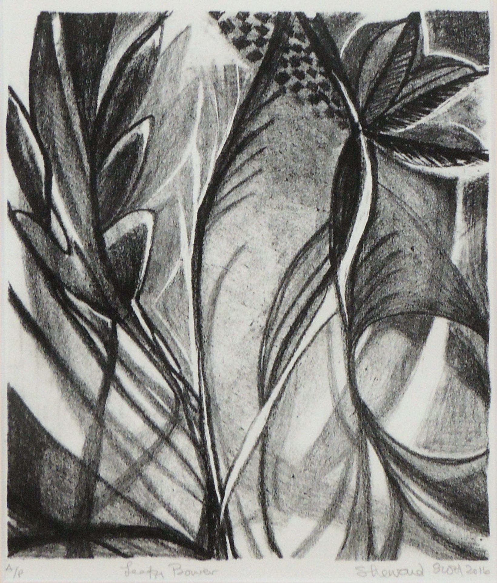 Sherraid Scott | LEAFY BOWER | stone lithography