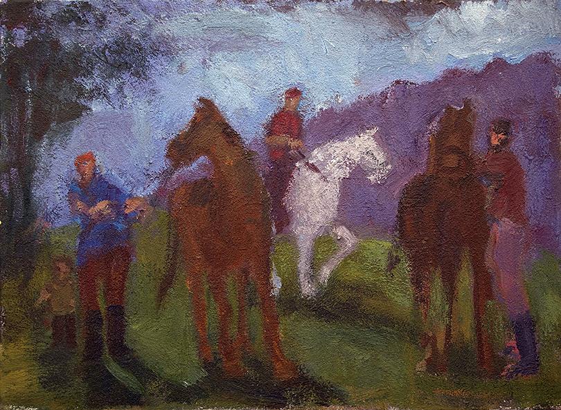 """Simon Carr   SADDLE UP   Acrylic on canvas   22 x 30"""""""