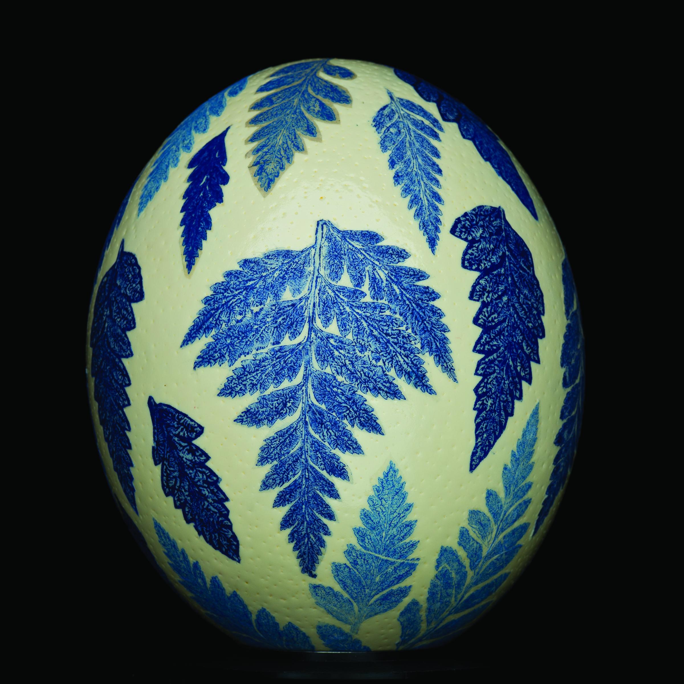 Sophie J. Knee I BLUE TRANSFERWARE EGG I relief monotype, 22k gold leaf