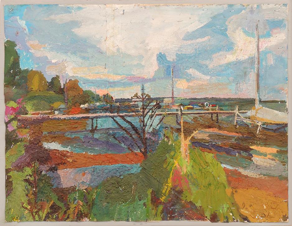 "Stanley Lewis   LAKE CHAUTAUQUA   Acrylic on paper   26 3/4 x 20 1/2""   1995"