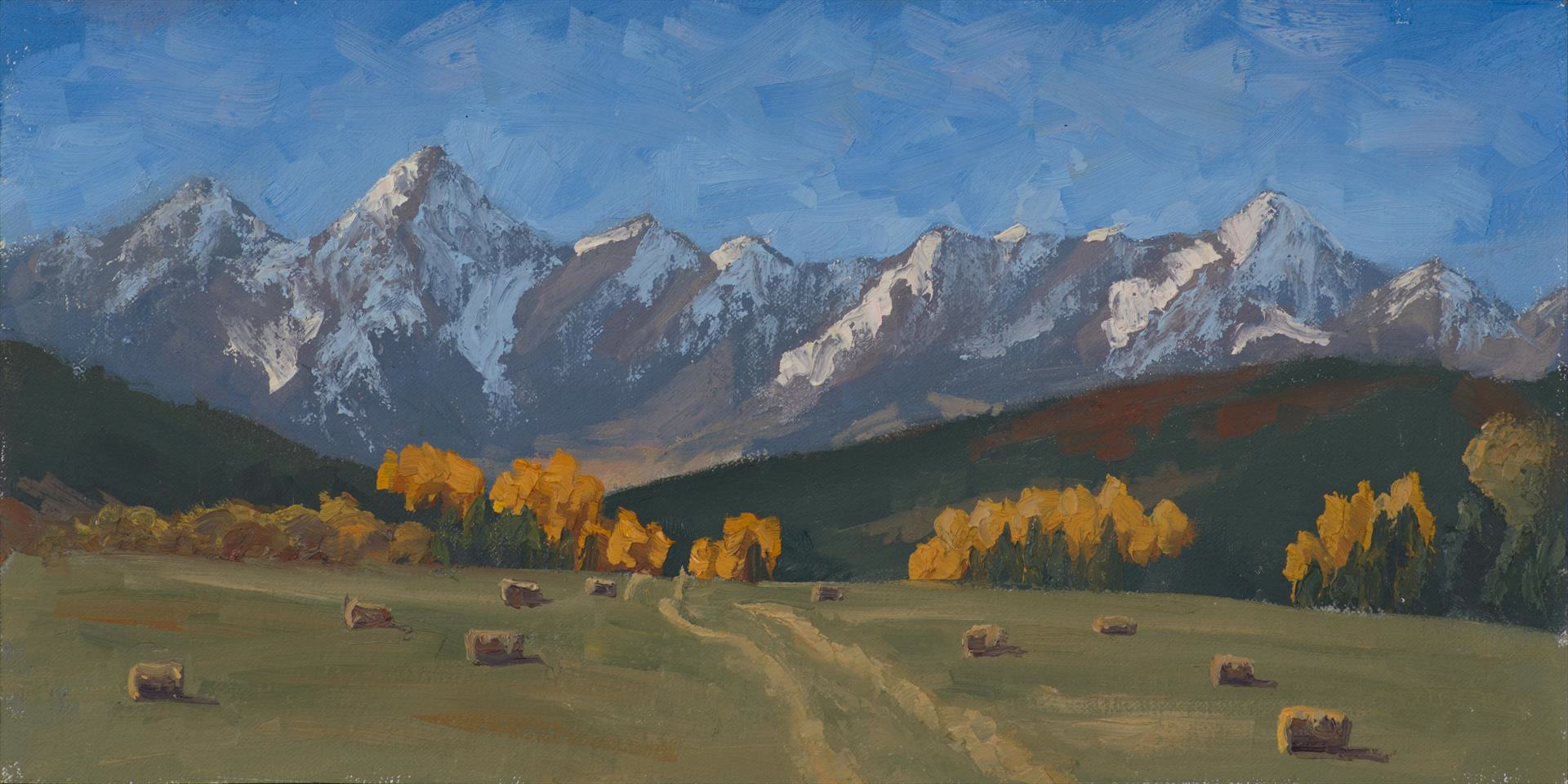 Susi Havens-Bezaire | BACKDROP FOR THE ASPENS | oil | 16 x 8