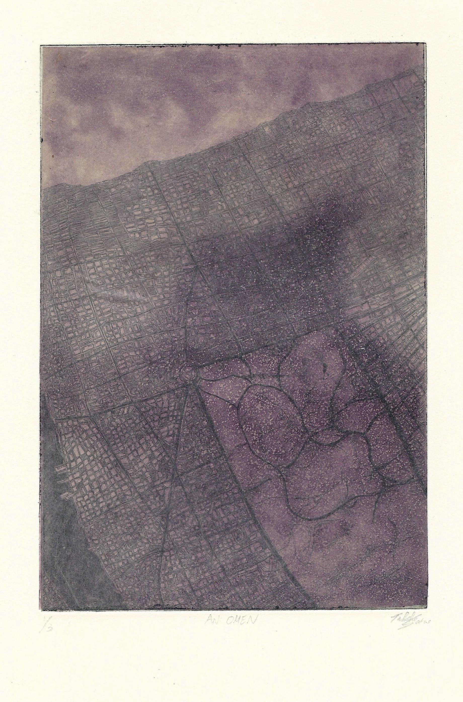 Takehiro Sano | AN OMEN | etching, aquatint | 8x5 | 2016