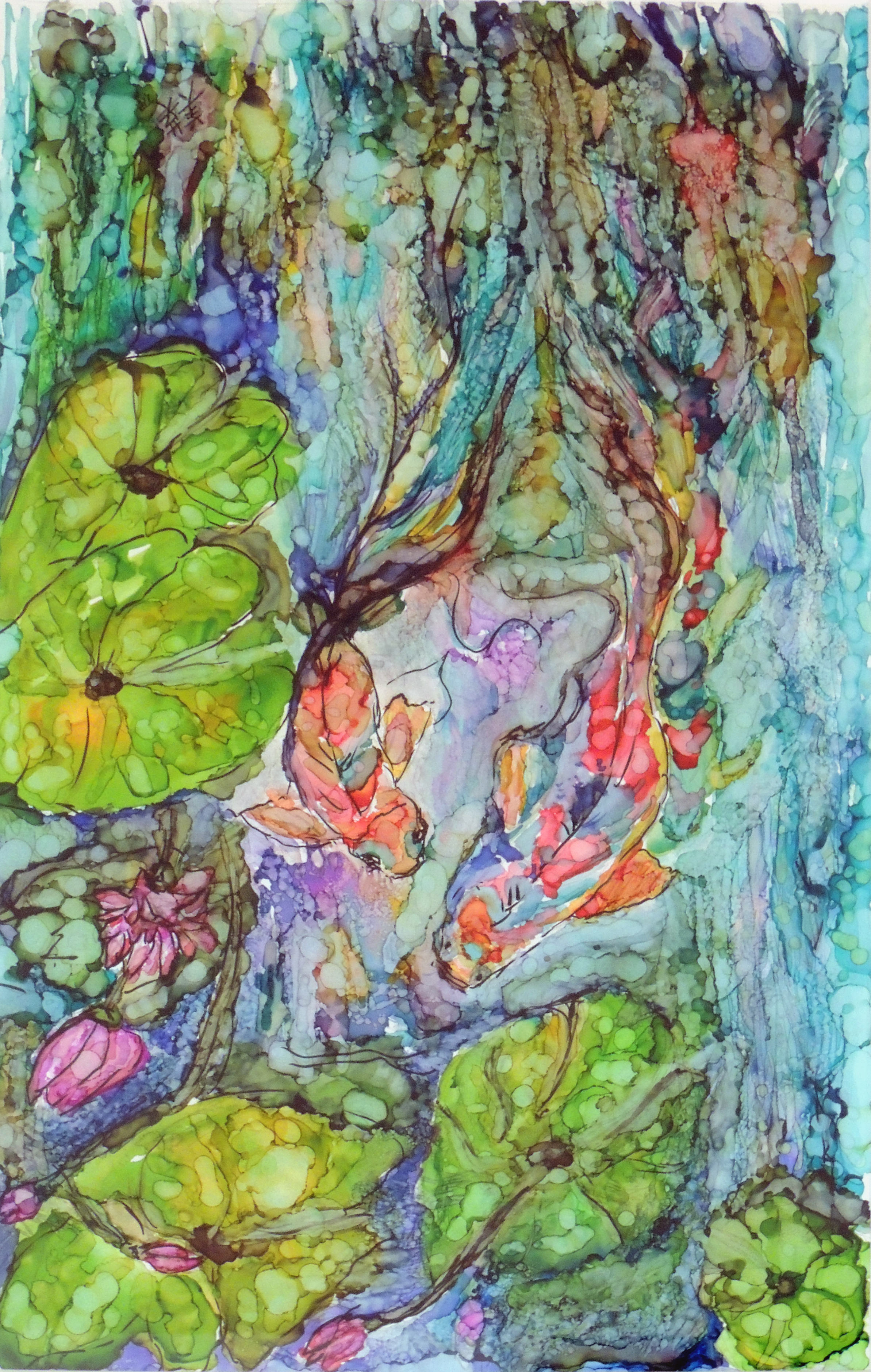 Teresa Russell | SWIM TO FREEDOM | Alcohol ink