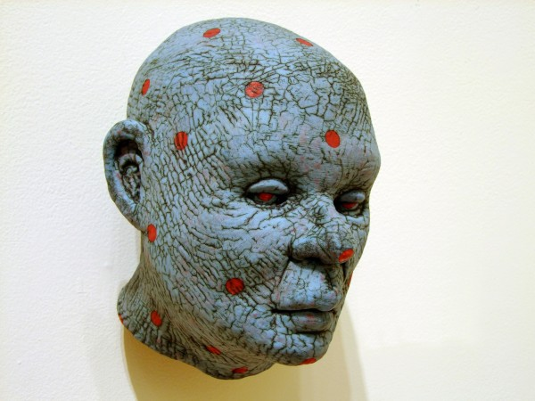 Thomas Bartel | BLUE HEAD WITH RED DOTS | ceramic