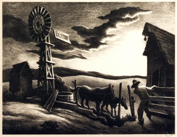 2005.005.04 | Thomas Hart Benton | ARKANSAS EVENING | lithograph | 10 x 13"