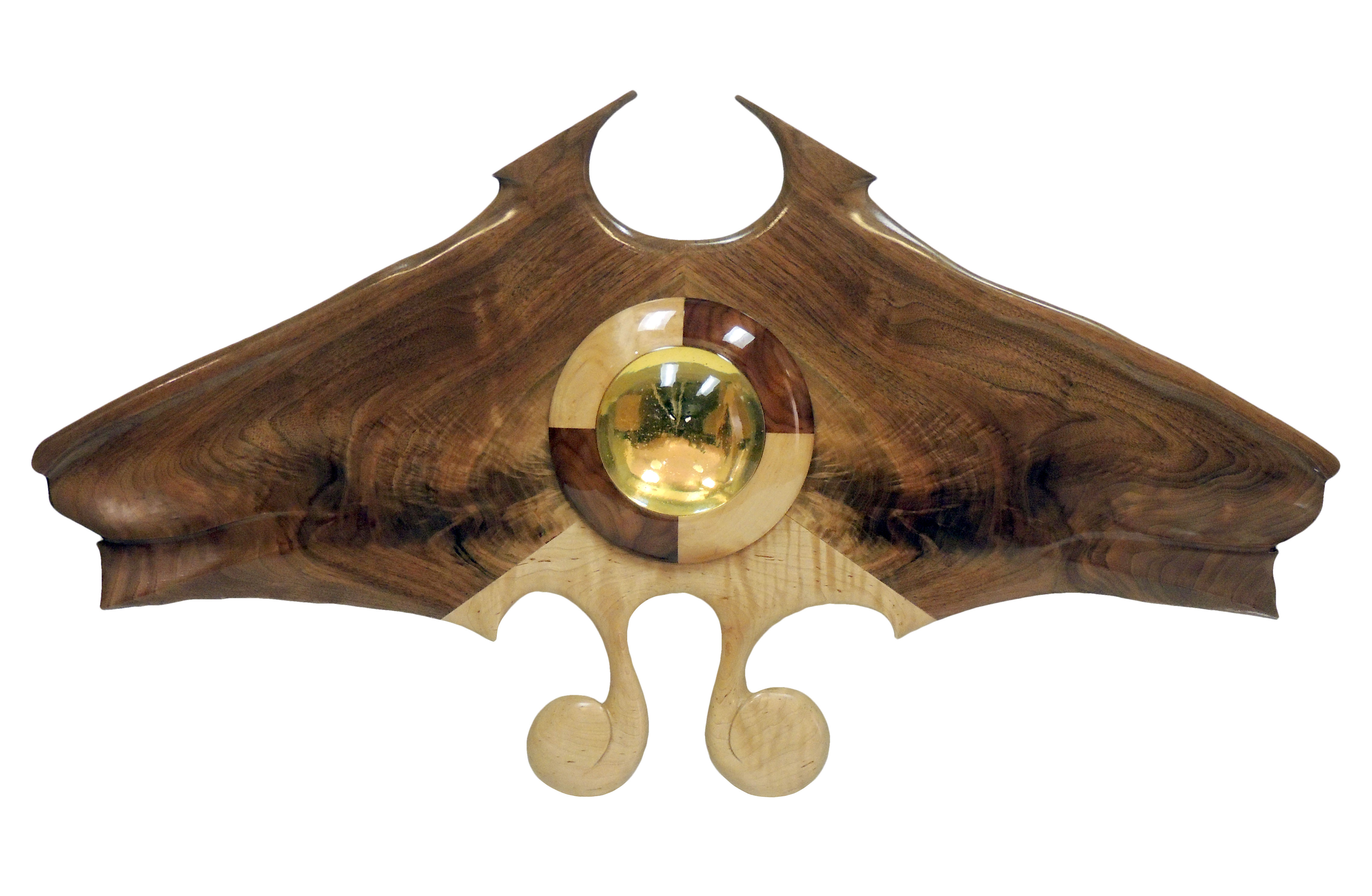Tom Hawley | S. CHIPPENDALIA | walnut, maple, clear epoxy resin lens | 19 x 35 x 3"