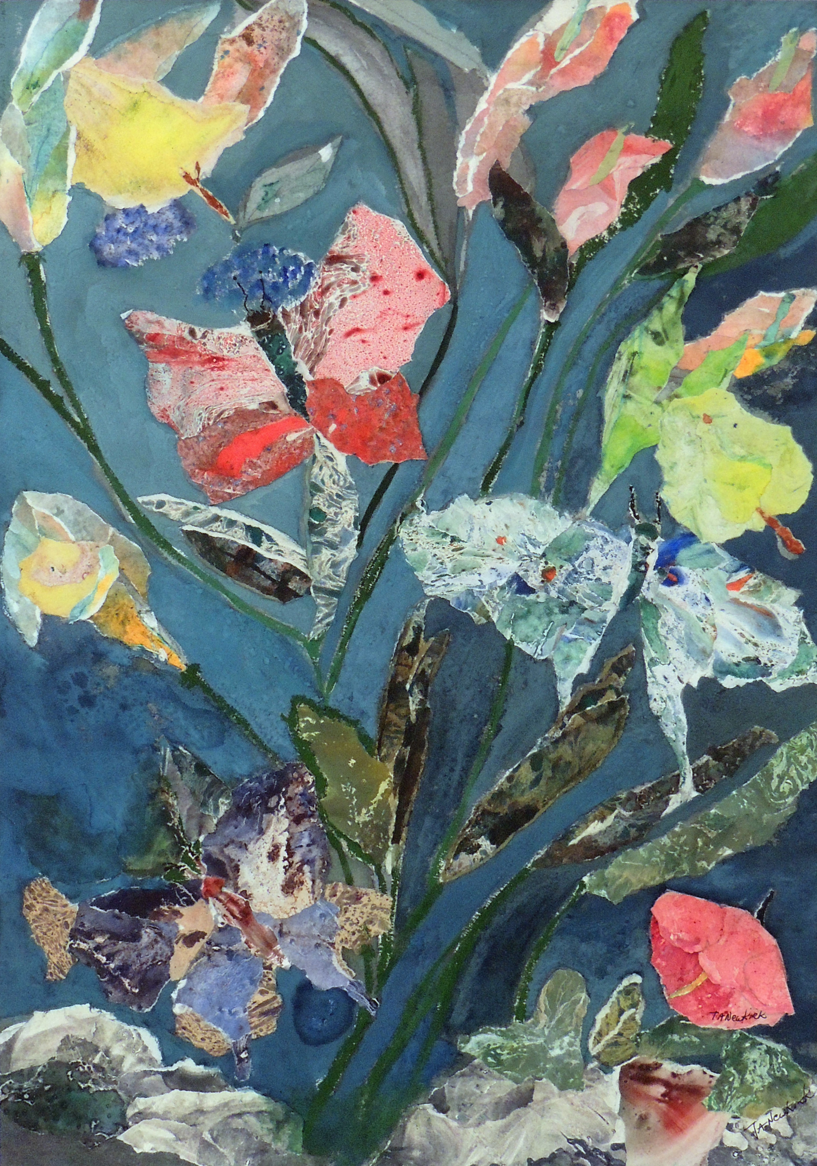 Trish Newkirk | BUTTERFLIES ARE FREE | Watercolor collage
