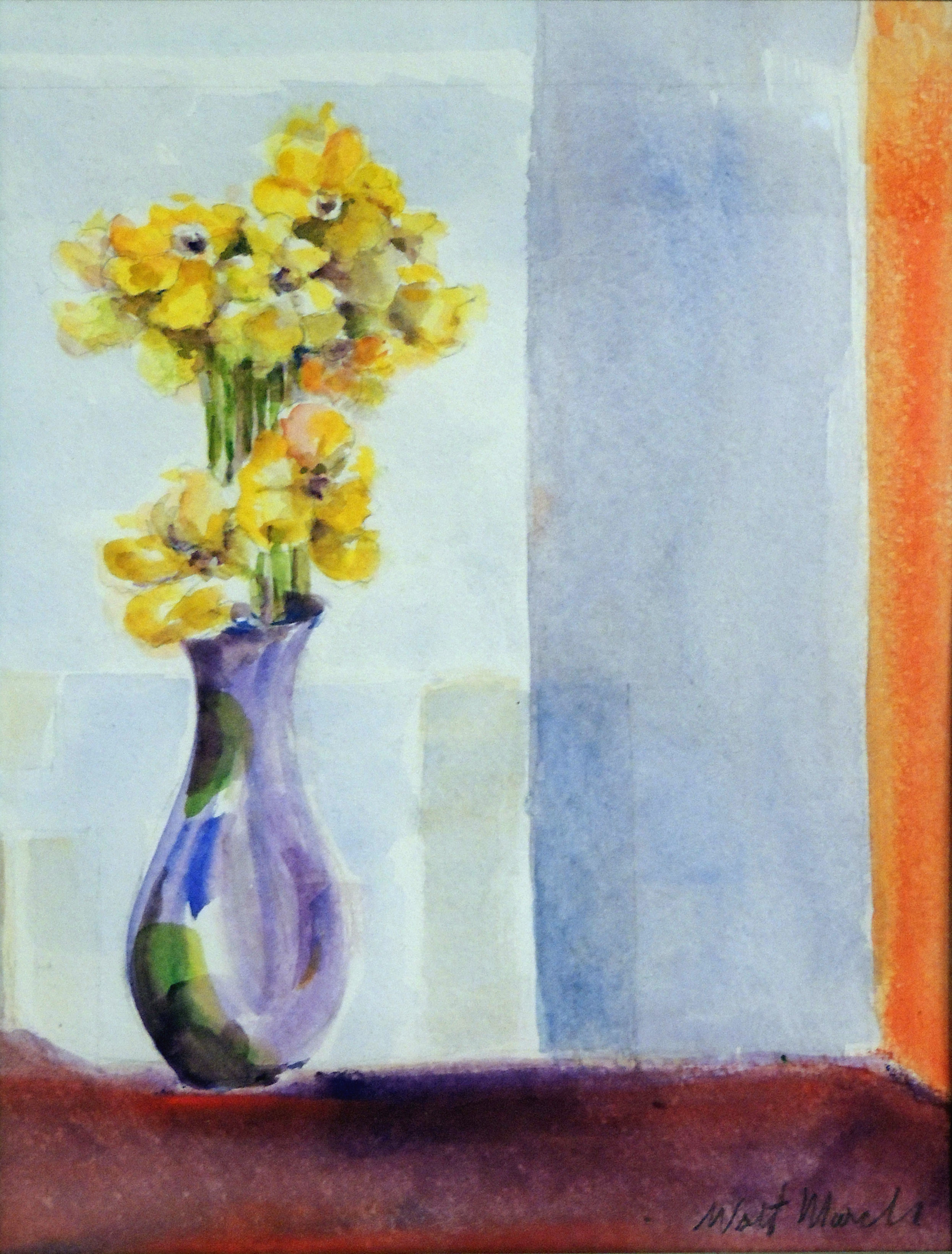 Walt Murch | FLOWER IN A PEWTER VASE | watercolor | 11 x 8""