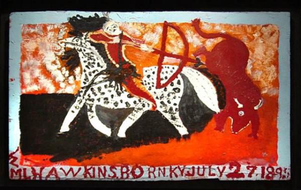 "William Hawkins | BUFFALO HUNTER #2 | enamel on masonite | 24 x 36"" | 1985"