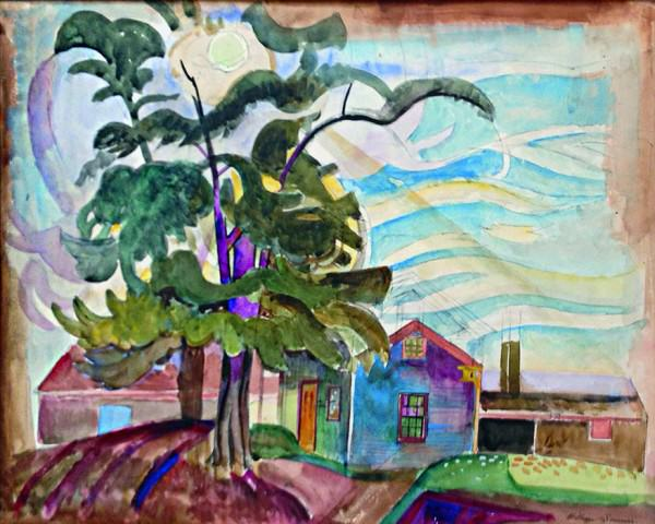 William Sommer | THE SPINACH TREE | 1934 | watercolor |  17-1/4 x 20-7/8"
