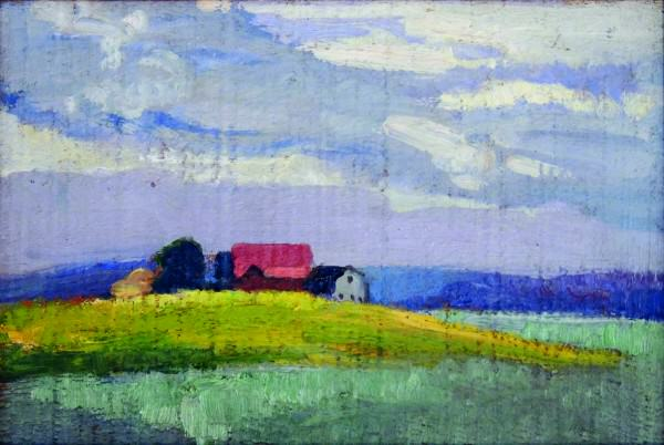 Yeteve Smith | FARM ON THE HILL | oil on board | 6-1/4 x 9-1/4 | c.1920s-30s | Springfield Museum of Art