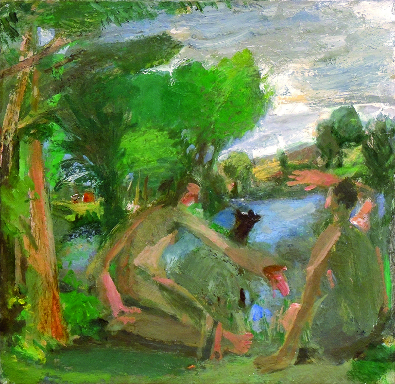 """Younghee Choi Martin   BY THE LAKE   oil on linen   21 x 22""""   2014"""