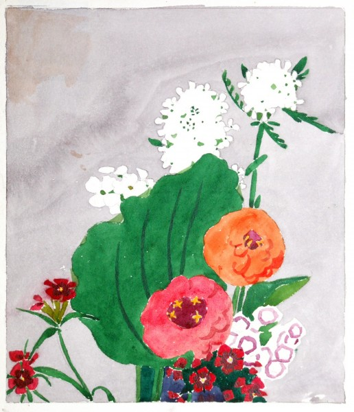Edna Boies Hopkins | ZINNIAS | woodblock print