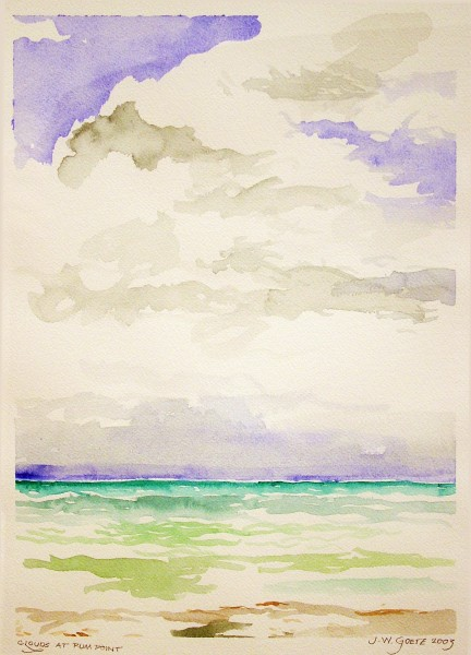 J.W. Goetze | CLOUDS AT RUM POINT | transparent watercolor | 2003